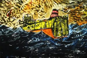 Containersch.in schwerer See